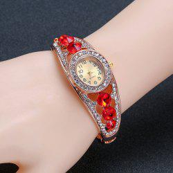 Rhinestoned Hollow Out Bracelet Watch