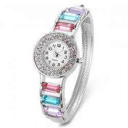 Rhinestone Faux Gem Number Bracelet Watch - WHITE