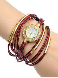 Rhinestone Artificial Leather Rope Bracelet Watch - WINE RED