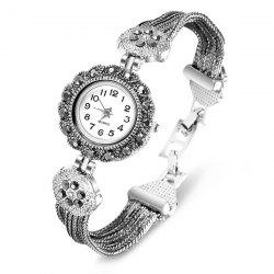 Rhinestoned Flower Quartz Bracelet Watch