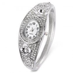 Rhinestoned Floral Hollow Out Bracelet Watch