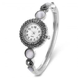 Rhinestoned Round Bracelet Watch