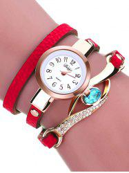 Rhinestone PU Leather Quartz Bracelet Watch