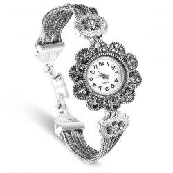 Rhinestoned Floral Rope Band Bracelet Watch