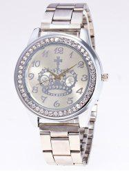 Rhinestone Crown Stainless Steel Watch