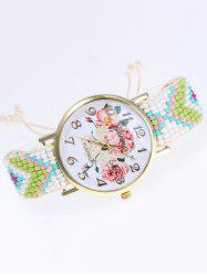 Flower Print Beads Braid Watch