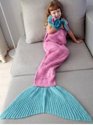 Home Decor Handmade Flower Ruffles Knitted Mermaid Blanket Throws For Kids - BREEZY