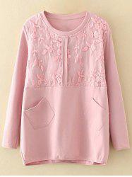 Plus Size Embroidery Floral Trim Sweatshirt
