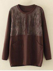 Plus Size Embroidery Floral Trim Sweatshirt - BROWN XL
