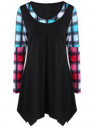 Plus Size Plaid Asymmetric Color Block T-Shirt