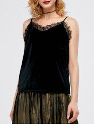 Velvet Lace Panel Eyelash Cami Top