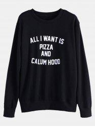 Text Print Pullover Sweatshirt