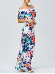 Off-The-Shoulder Floral Hawaiian Print Maxi Dress