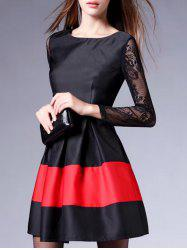 Lace Insert Colorblock Sheer A Line Dress