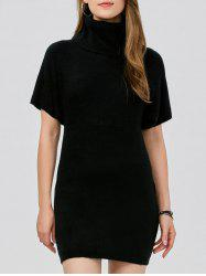 Turtleneck Bodycon Mini Short Sleeve Jumper Dress