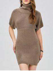 Turtleneck Bodycon Mini Short Sleeve Jumper Dress -