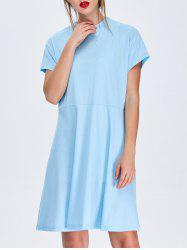 Stand Collar Mini Flared Day Dress