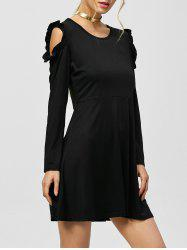 Cold Shoulder Long Sleeve Mini Shift Dress -