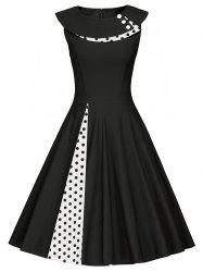 Polka Dot Sleeveless Pleated A Line Dress