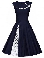 Polka Dot Sleeveless Pleated A Line Dress - PURPLISH BLUE