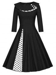Pleated Polka Dot A Line Dress