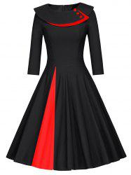 Pleated Color Block A Line Dress