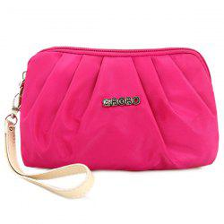 Nylon Ruched Wristlet - ROSE RED