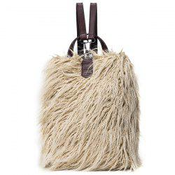 PU Leather Panel Faux Fur Backpack