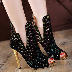 Rhinestoned Stiletto Heel Peep Toe Shoes