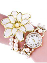 Flower Faux Pearl Beads Bracelet Watch -