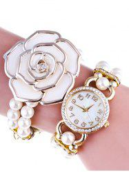 Rhinestone Floral Beads Quartz Bracelet Watch