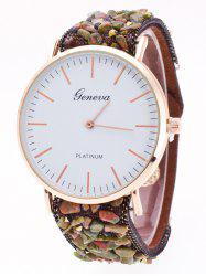 Faux Stone Studded Analog Watch