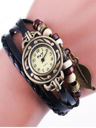 Faux Leather Strand Bracelet Watch -