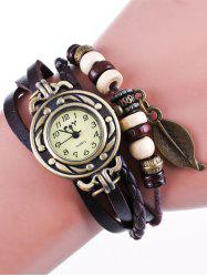 Faux Leather Strand Bracelet Watch - COFFEE