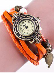 Faux cuir Strand Bracelet Montre - Orange Rose