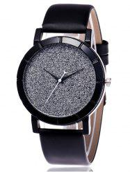 Faux Leather Glitter Analog Watch