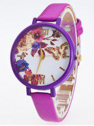 Faux Leather Flower Butterfly Watch -