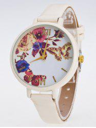 Faux Leather Flower Butterfly Watch