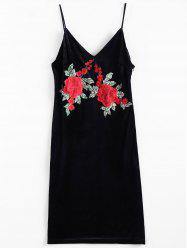 Embroidered Cami Velvet Sheath Dress