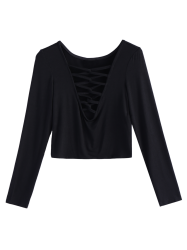 Lace Up Fitted Crop Tee Shirt - BLACK 2XL