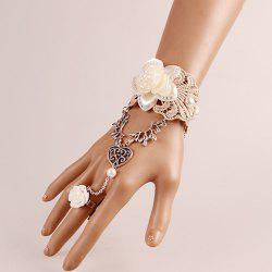 Lace Heart Flower Bracelet with Ring