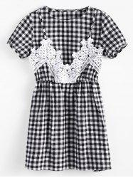 Short Sleeve Plaid Lace Panel Dress