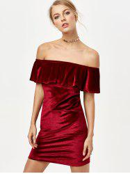 Off Shoulder Velvet Bodycon Dress