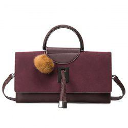 Faux Leather Pompon Flapped Handbag