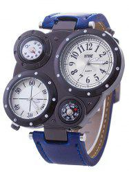 Artificial Leather Compass Embellished Watch