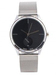 Quartz Watch with Steel Watchband - BLACK