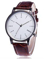 Faux Leather Number Wrist Watch - WHITE