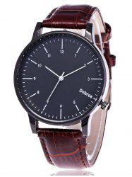 Faux Leather Number Wrist Watch -