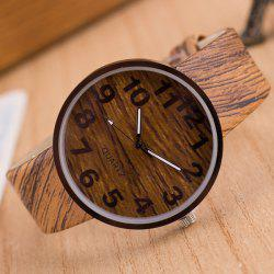 Faux Leather Wood Grain Watch - LIGHT BROWN