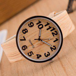 Faux Leather Wood Grain Watch - BEIGE